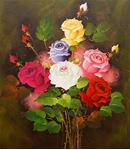 Picture of Flowers - Roses - Multi-Coloured Bunch - O002