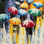 Picture of Cityscapes - Umbrella Crowd Scene - O014