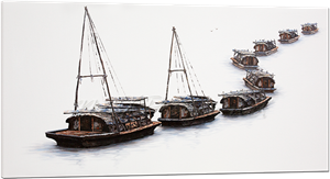 Picture of Landscapes - Hong Kong Boat Houses - O026